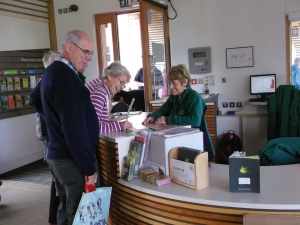 Volunteers helping visitors in the Welcome Building